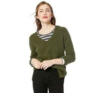J.Crew Heather V Neck Olive Green Sweater Size S